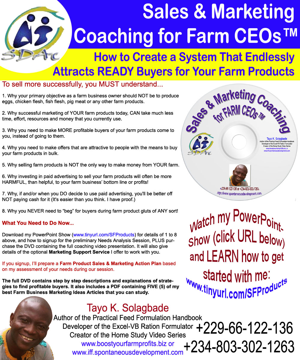 Tayo Solagbade's Coaching Program for Farm Products Marketing Success (Verbatim Text Transcript of Introductory Video)
